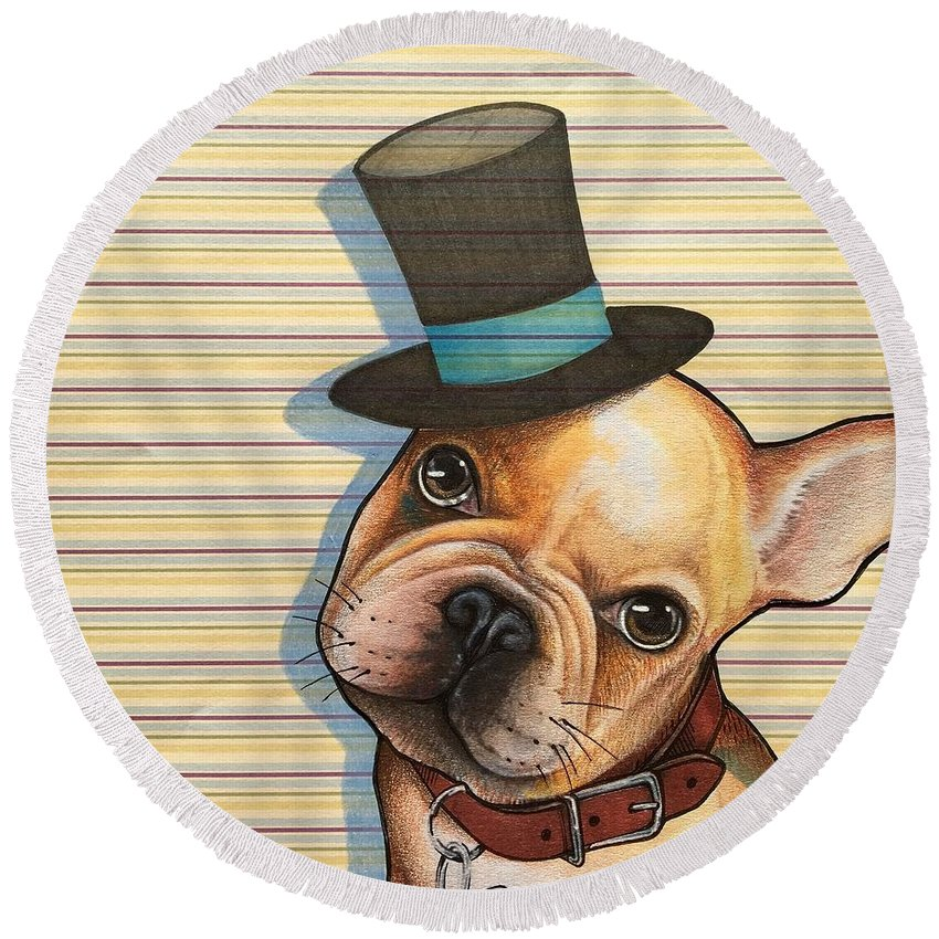 French Bulldog Round Beach Towel featuring the mixed media Willy In A Top Hat by Sharon Hulme