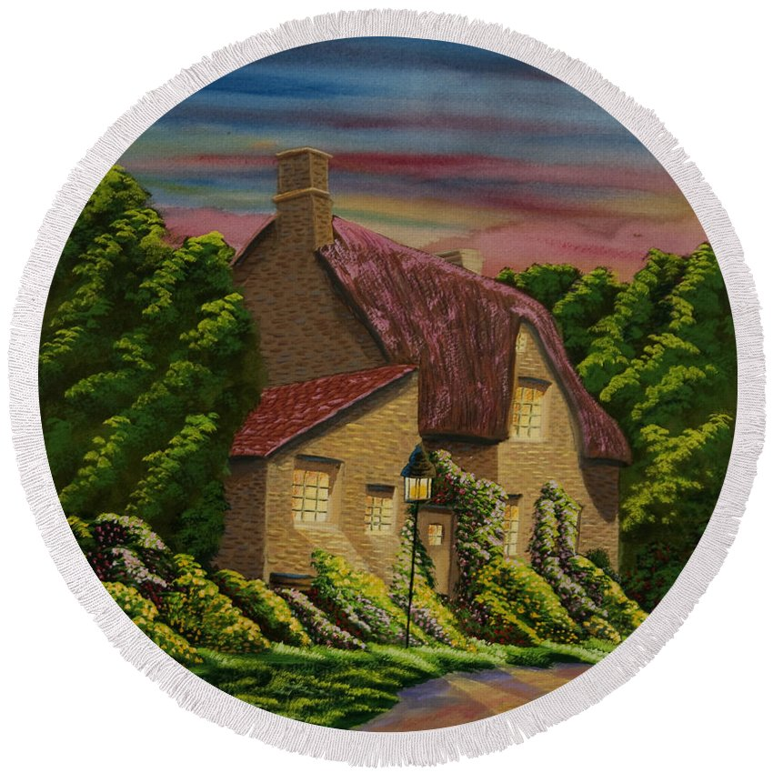 Sunset Round Beach Towel featuring the painting Wiltshire At Sunset by Charlotte Blanchard