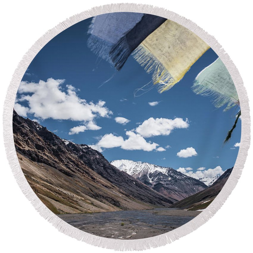 Landscape Round Beach Towel featuring the photograph Wind And A Prayer by Siddhartha De