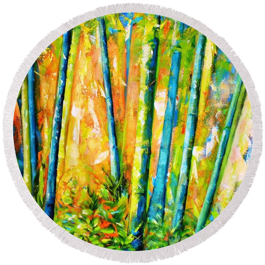 Nature Round Beach Towel featuring the painting Wind And Fire by Fernanda Cruz