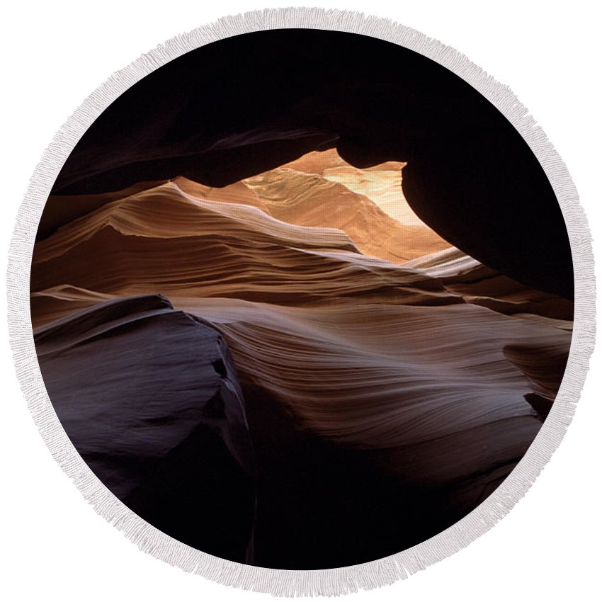 Antelope Canyon Round Beach Towel featuring the photograph Wind And Water by Kathy McClure