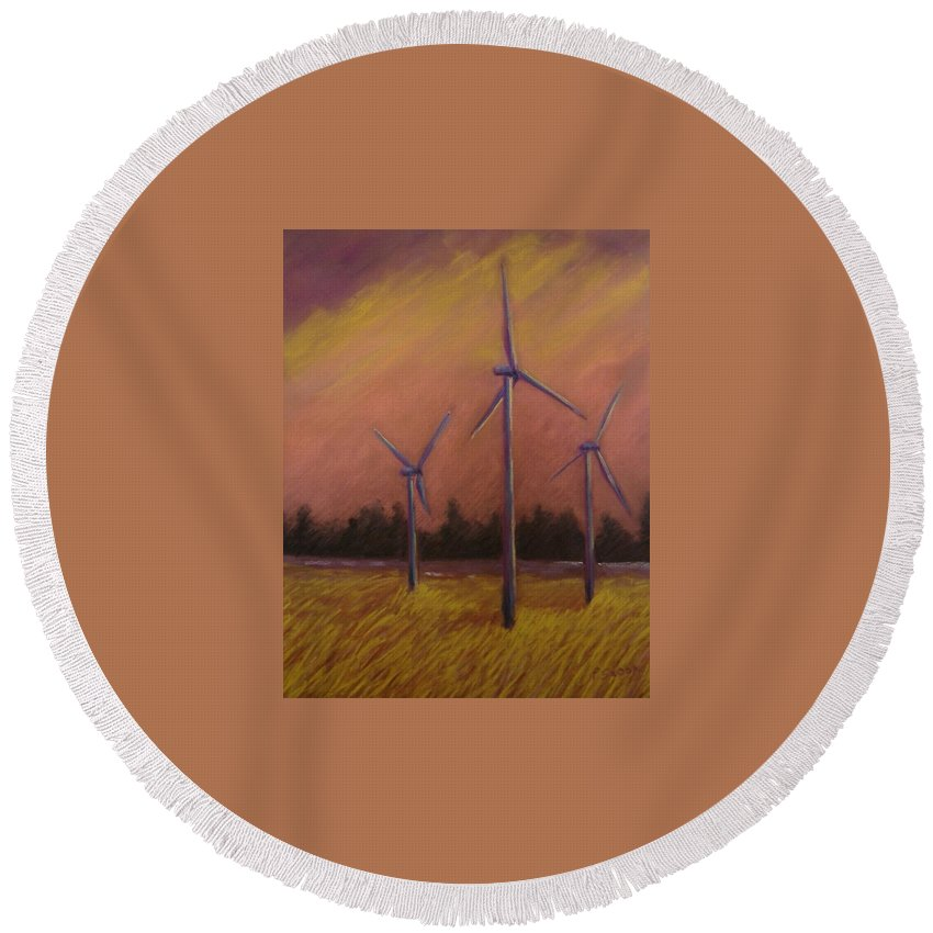 Wind Turbine Round Beach Towel featuring the pastel Wind And Wheat by Pat Snook
