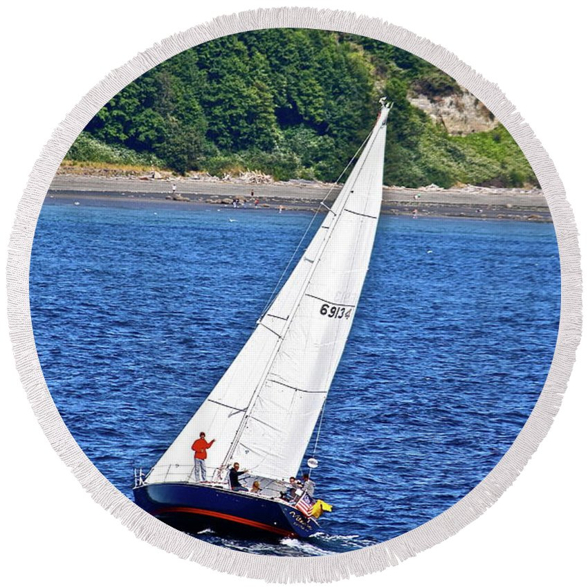 Boat Round Beach Towel featuring the photograph Wind Friend by Diana Hatcher