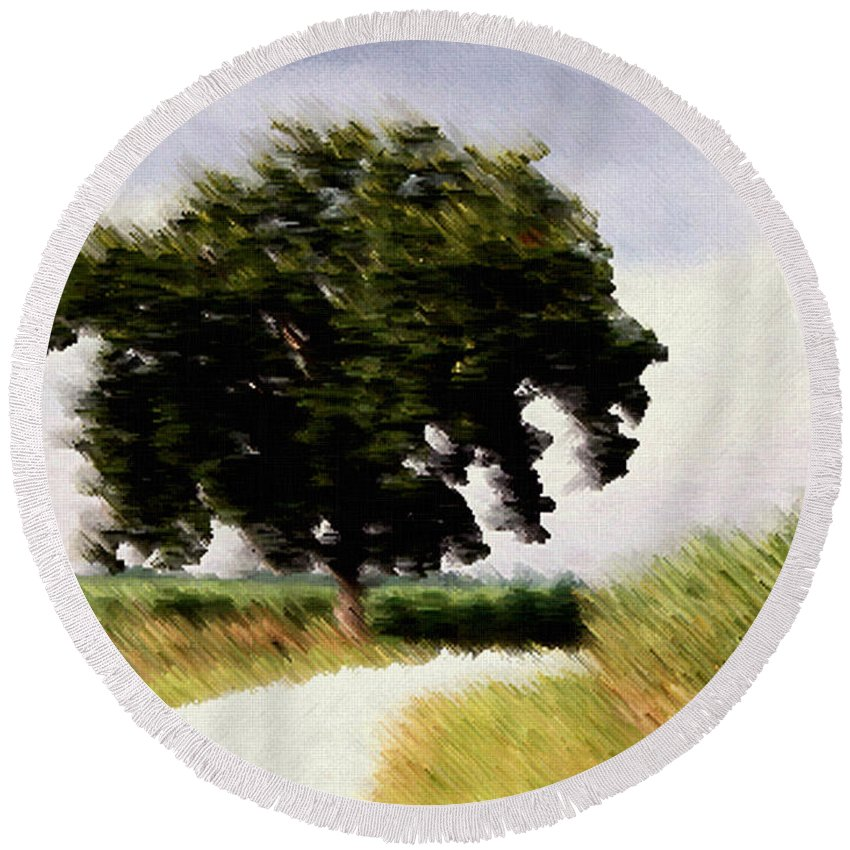 Breeze Round Beach Towel featuring the digital art Wind Motif Old Dam Road by RC DeWinter