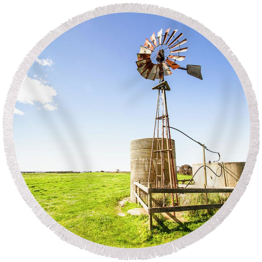 Country Round Beach Towel featuring the photograph Wind Powered Farming Station by Jorgo Photography - Wall Art Gallery