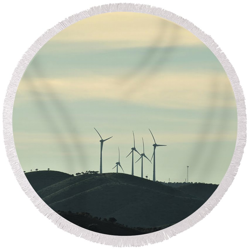 Wind Turbines Round Beach Towel featuring the photograph Wind Turbines In Algarve Mountains by Angelo DeVal