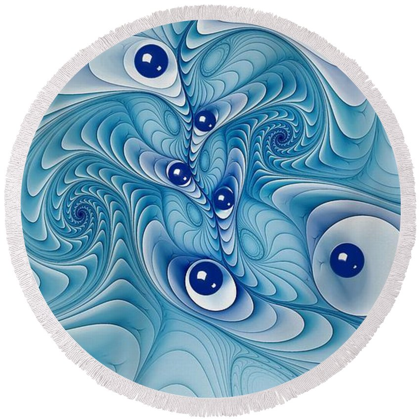 Marble Round Beach Towel featuring the digital art Wind Up Marble Works by Doug Morgan