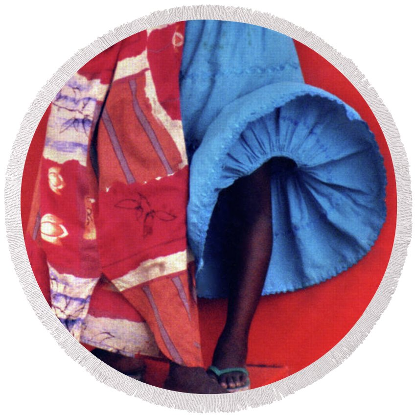 Africa Round Beach Towel featuring the photograph Windblown Skirt by Wayne King