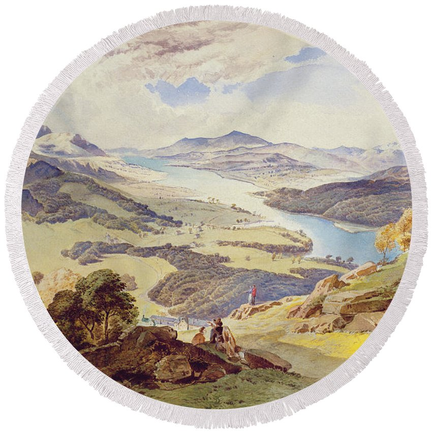 Windermere Round Beach Towel featuring the painting Windermere From Ormot Head by William Turner