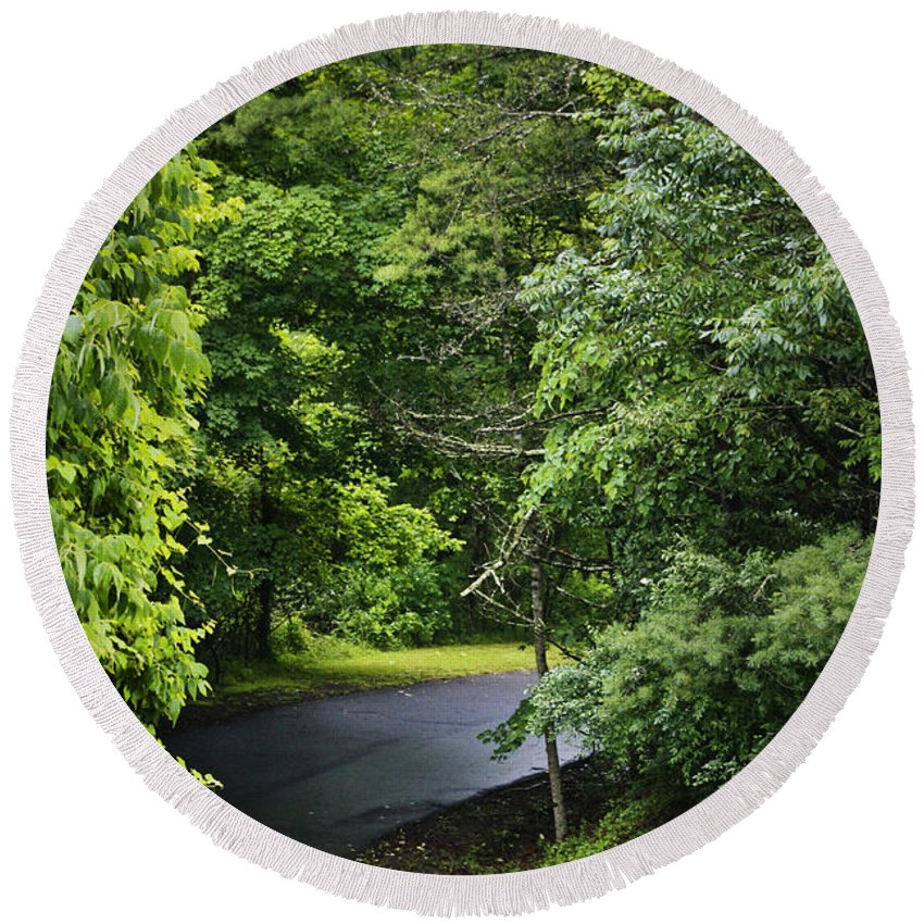 Rain Round Beach Towel featuring the photograph Winding Road Bluestone State Park West Virginia by Teresa Mucha