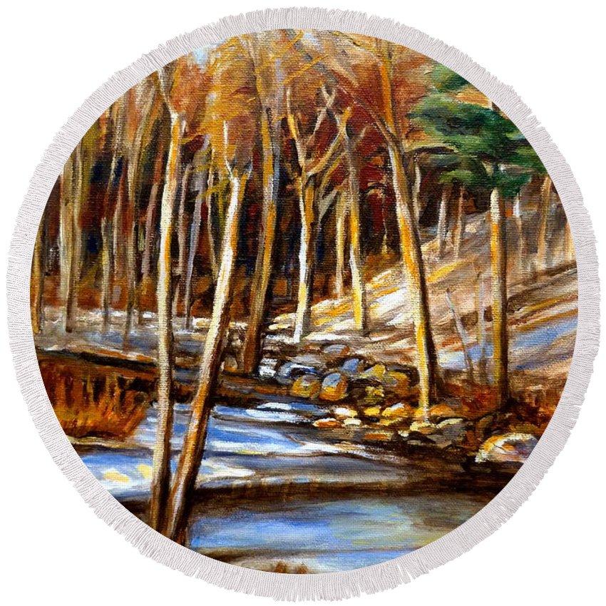 Windiing Stream Round Beach Towel featuring the painting Winding Stream by Carole Spandau