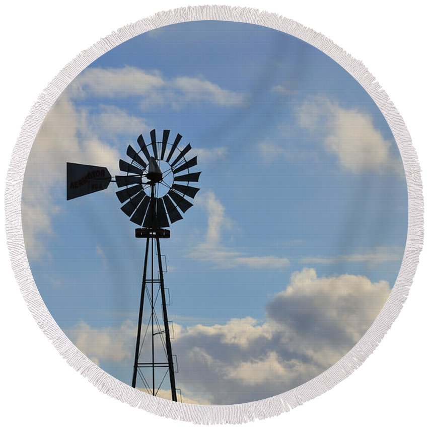 Windmill Round Beach Towel featuring the photograph Windmill And Sky by David Arment