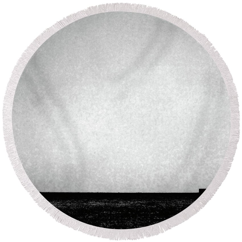Wasteland Round Beach Towel featuring the photograph Windmill In Black And White by Scott Sawyer