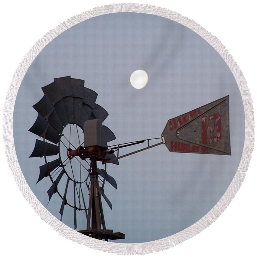 Windmill Round Beach Towel featuring the photograph Windmill Moon by Gale Cochran-Smith