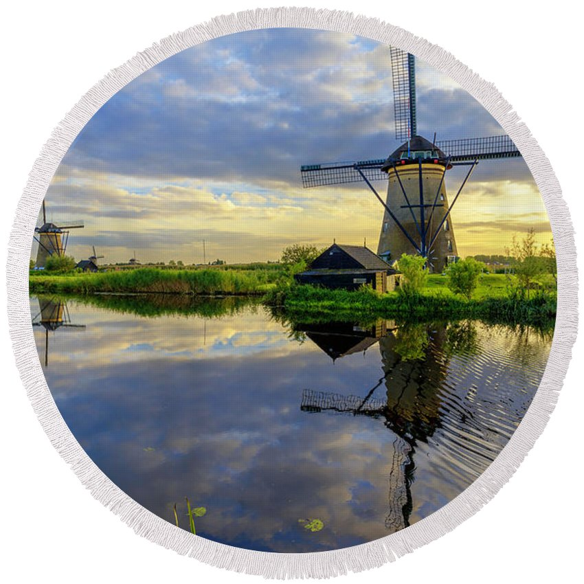 Windmill Round Beach Towel featuring the photograph Windmills by Chad Dutson