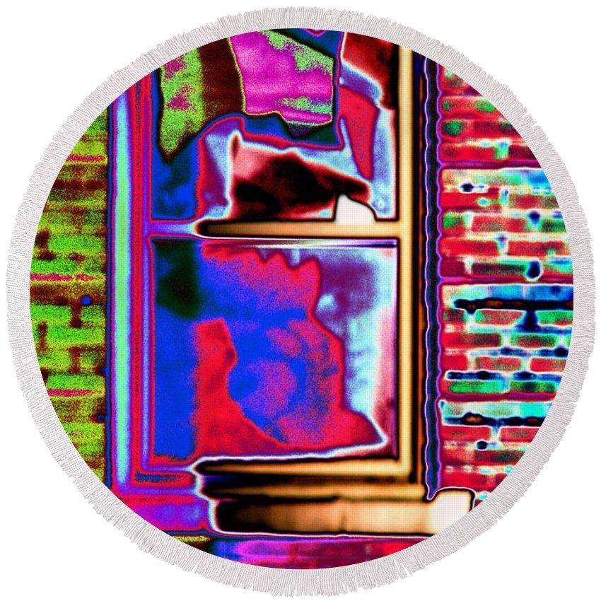 Window Round Beach Towel featuring the digital art Window 1 by Tim Allen