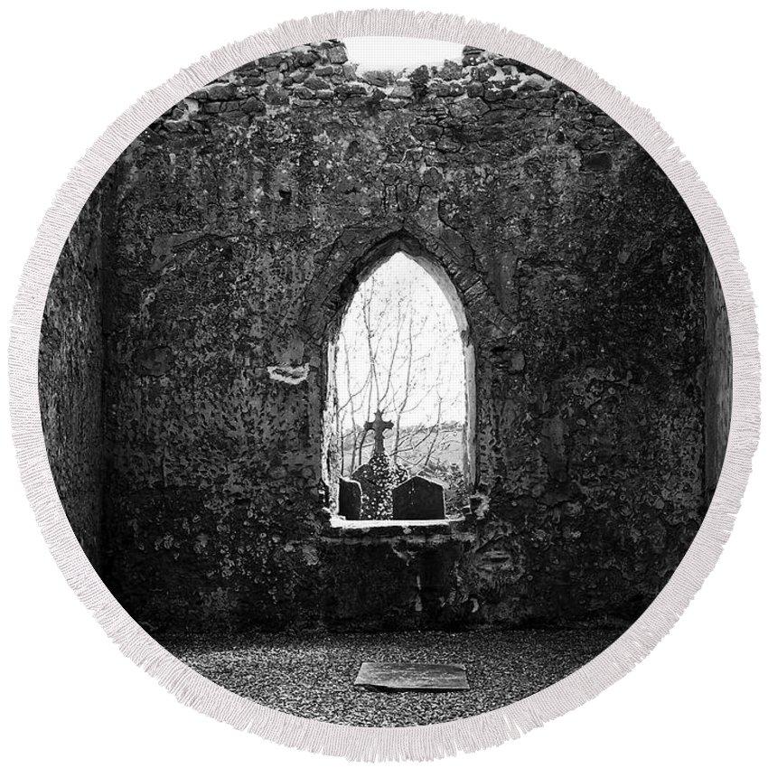 Ireland Round Beach Towel featuring the photograph Window at Fuerty Church Roscommon Ireland by Teresa Mucha