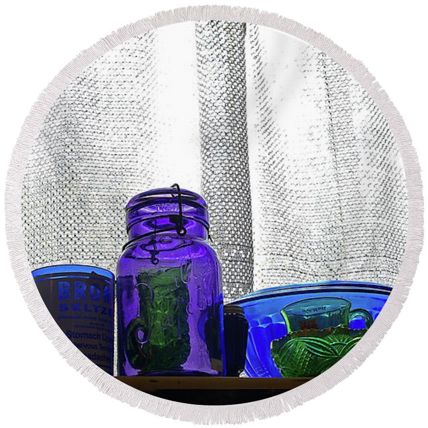 Glassware Round Beach Towel featuring the photograph Window Colored Glassware by Rich Walter