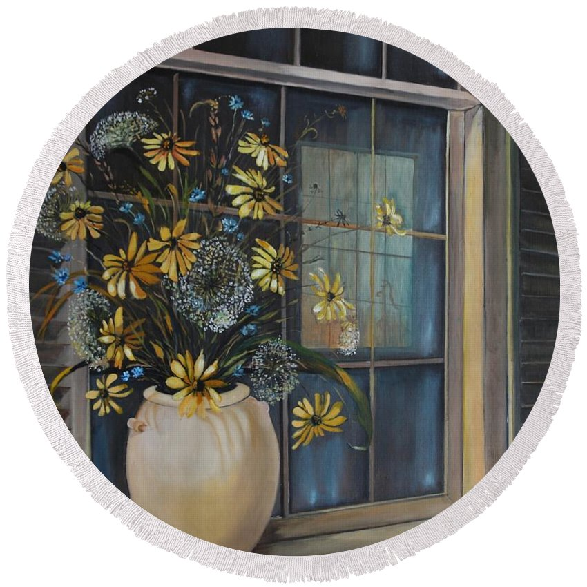 Wild Flowers Round Beach Towel featuring the painting Window Dressing - Lmj by Ruth Kamenev