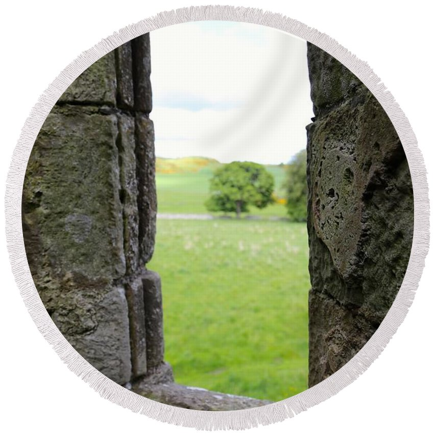 Stone Window Round Beach Towel featuring the photograph Window From The Past And Into The Future by Caroline Reyes-Loughrey