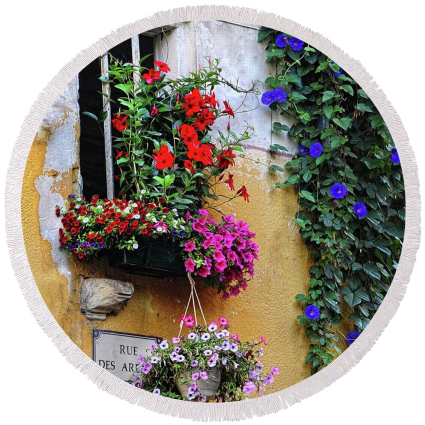 Flowers Round Beach Towel featuring the photograph Window Garden In Arles France by Dave Mills