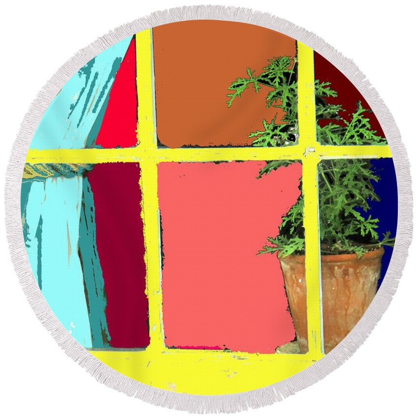 Window Round Beach Towel featuring the photograph Window by Ian MacDonald