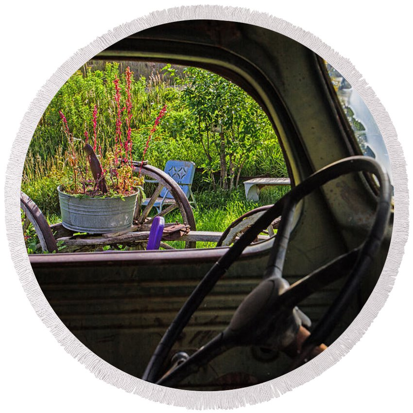 Truck Round Beach Towel featuring the photograph Window In Time by Alana Thrower