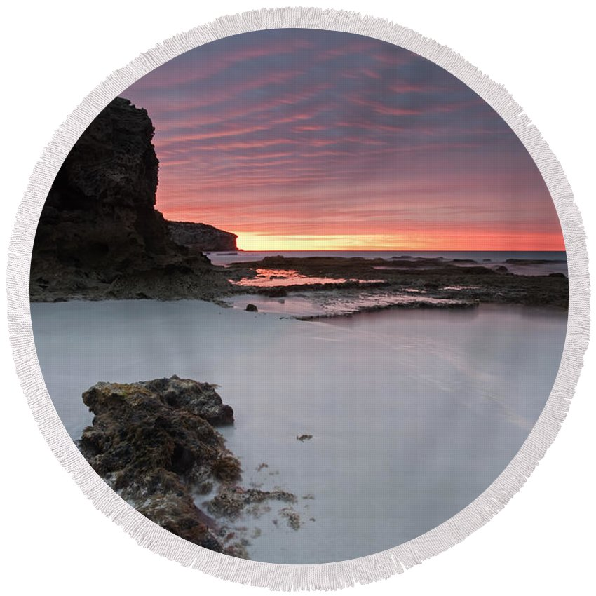 Sunrise Round Beach Towel featuring the photograph Window On Dawn by Mike Dawson