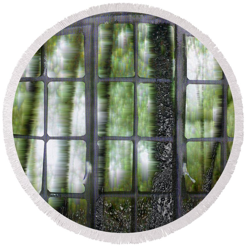 Window On The Woods Round Beach Towel featuring the digital art Window On The Woods by Seth Weaver