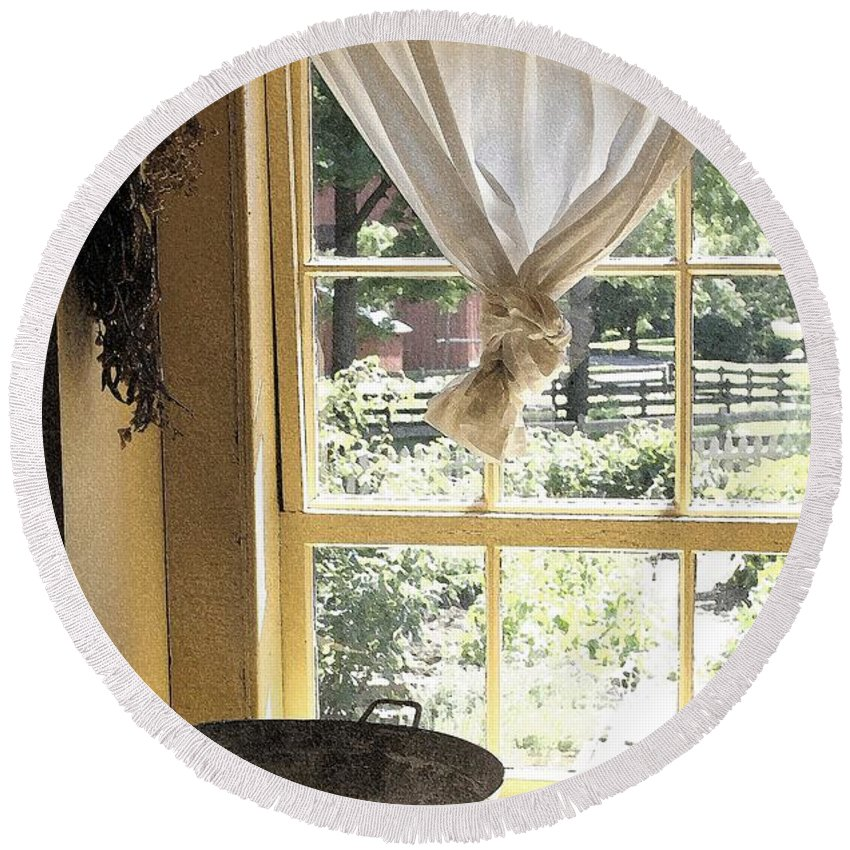 Window Round Beach Towel featuring the photograph Window On Yesterday by Nelson Strong