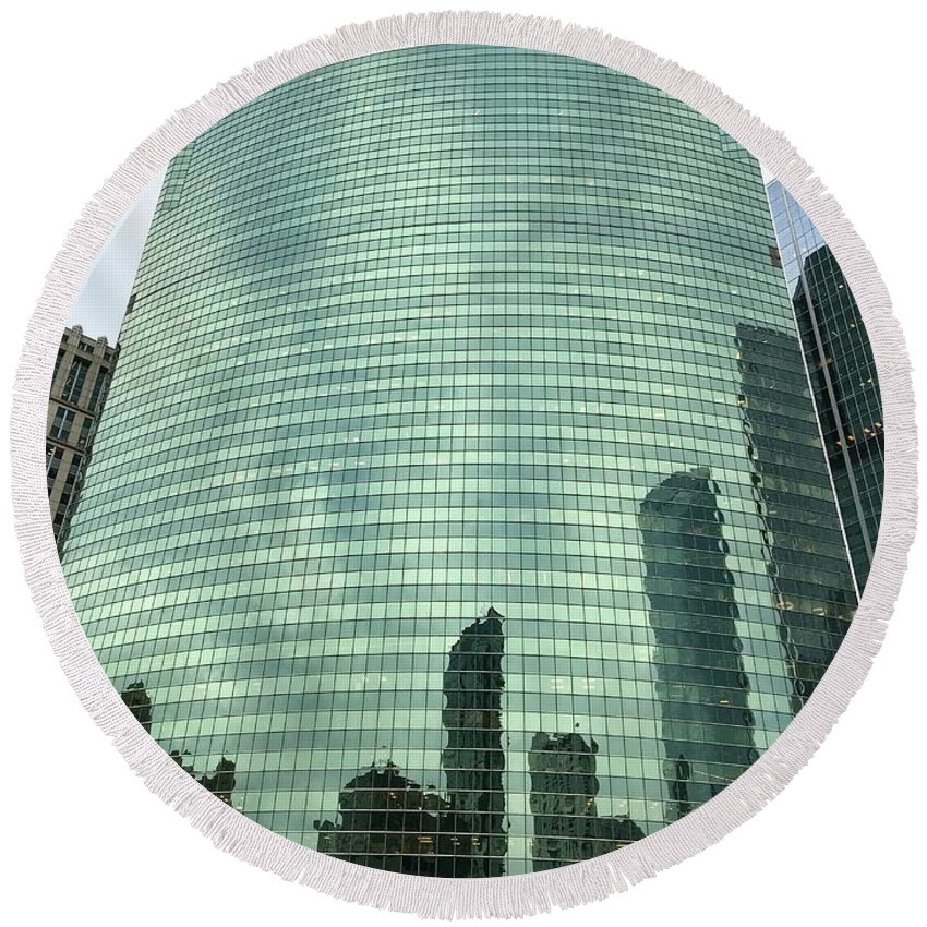 Chicago Round Beach Towel featuring the photograph Window Reflections In The Windy City by Richard Bryce and Family