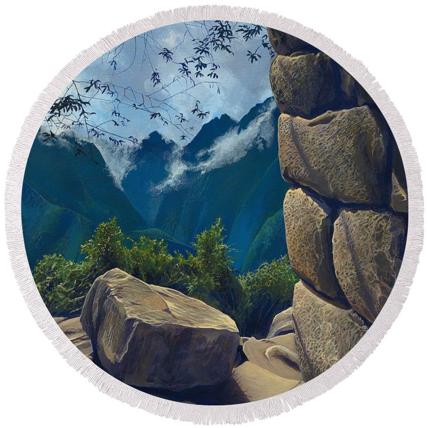 Peru Round Beach Towel featuring the painting Window to the Past by Hunter Jay