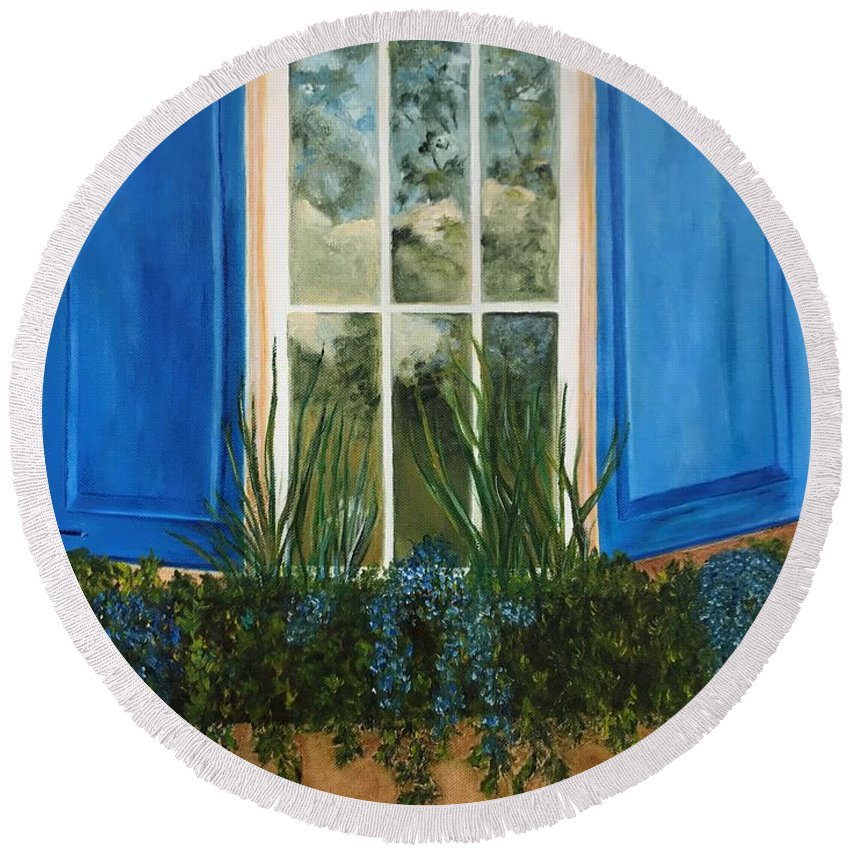 Window Round Beach Towel featuring the painting Window To The World by Judy Jones