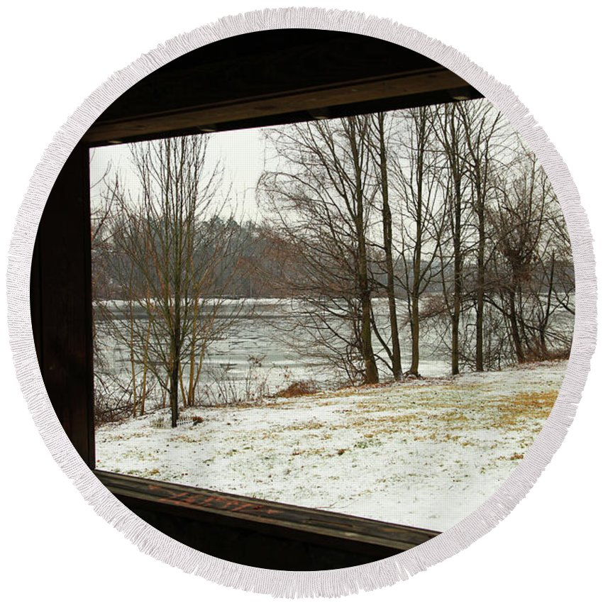 Window To Winter Round Beach Towel featuring the photograph Window To Winter by Karol Livote