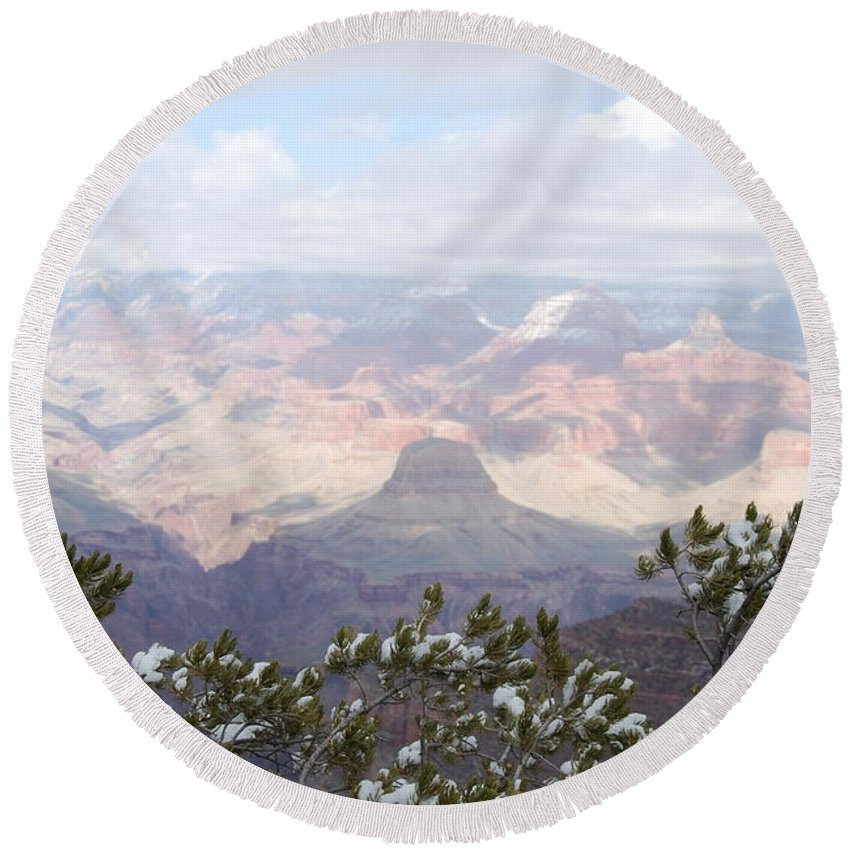 Grand Canyon Round Beach Towel featuring the photograph Window With A View 2 by Carin Tillinghast