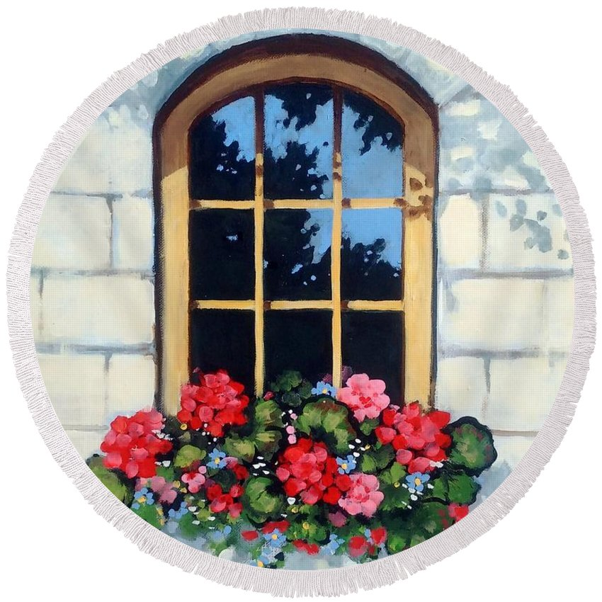 Window Round Beach Towel featuring the painting Window With Flower Box by Joyce Geleynse