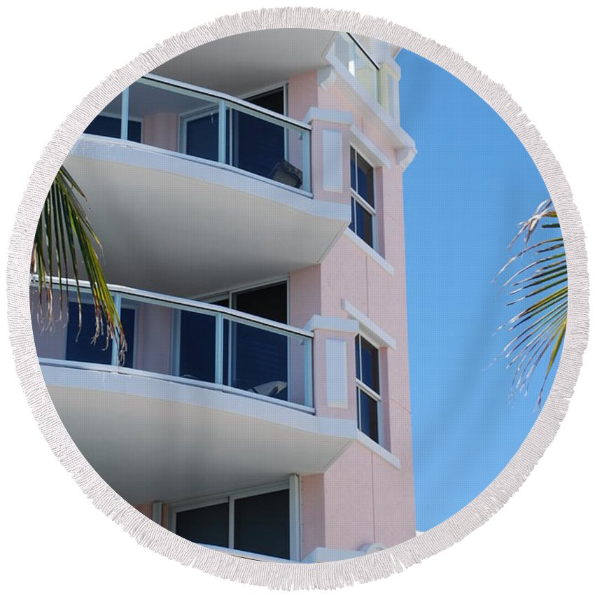 Architecture Round Beach Towel featuring the photograph Windows 10 by Rob Hans