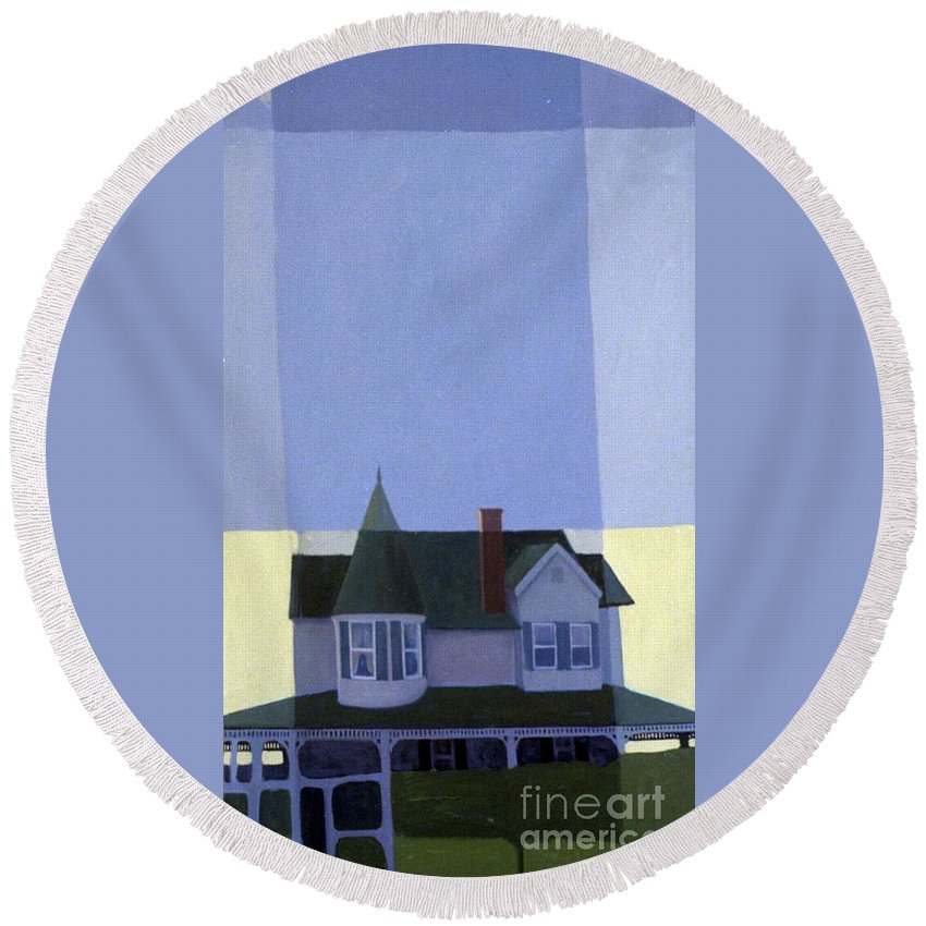 Victorian House Round Beach Towel featuring the painting Windows by Donald Maier
