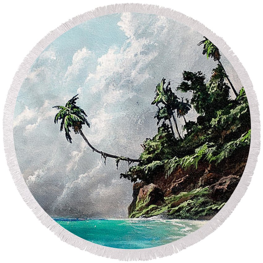Seascape Round Beach Towel featuring the painting Winds Of Change by Marco Antonio Aguilar