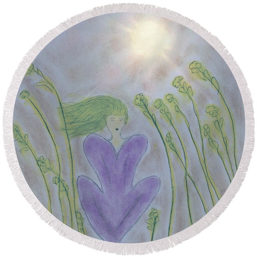 Woman Sitting In Field Of Flowers Round Beach Towel featuring the painting Windsitter Spring Breeze by Kate Hopson
