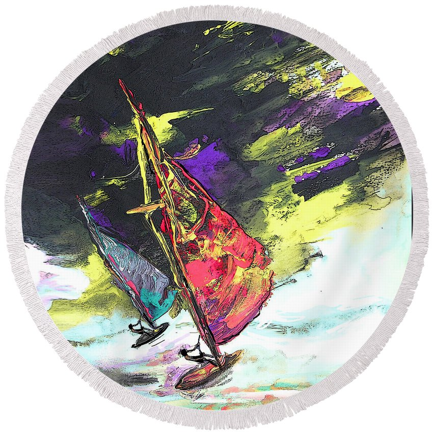 Acrylics Round Beach Towel featuring the painting Windsurf Impression 01 by Miki De Goodaboom