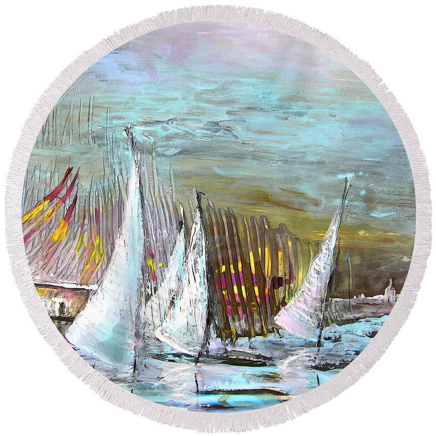 Acrylics Round Beach Towel featuring the painting Windsurf Impression 03 by Miki De Goodaboom