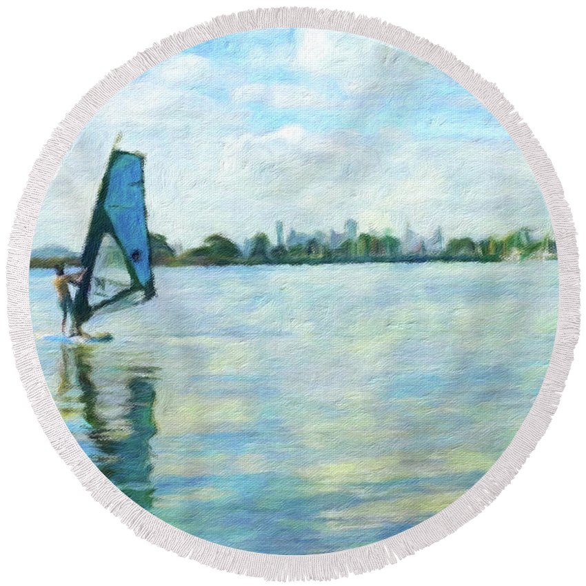 Skyline Round Beach Towel featuring the mixed media Windsurfing In The Bay by Linda Weinstock