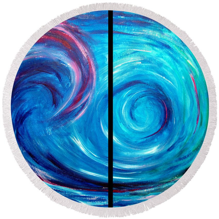 Blue Round Beach Towel featuring the painting Windswept Blue Wave And Whirlpool 2 by Nancy Mueller