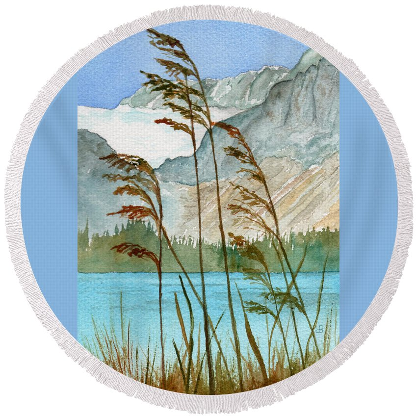 Landscape Round Beach Towel featuring the painting Windswept by Brenda Owen