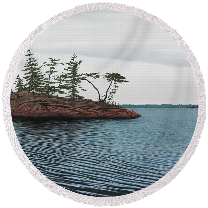 Island Round Beach Towel featuring the painting Windswept Island Georgian Bay by Kenneth M Kirsch