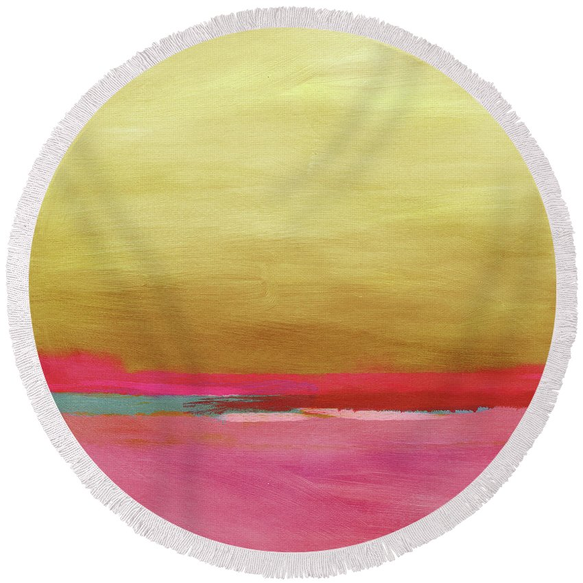 Abstract Round Beach Towel featuring the mixed media Windswept Sunrise- Art by Linda Woods by Linda Woods
