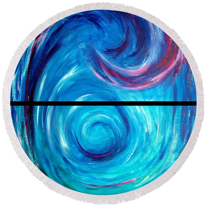 Blue Round Beach Towel featuring the painting Windwept Blue Wave And Whirlpool Diptych 1 by Nancy Mueller