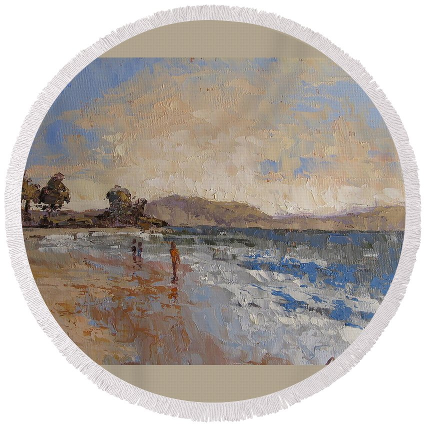 Seascape.sea Round Beach Towel featuring the painting Windy Day At Sea by Yvonne Ankerman