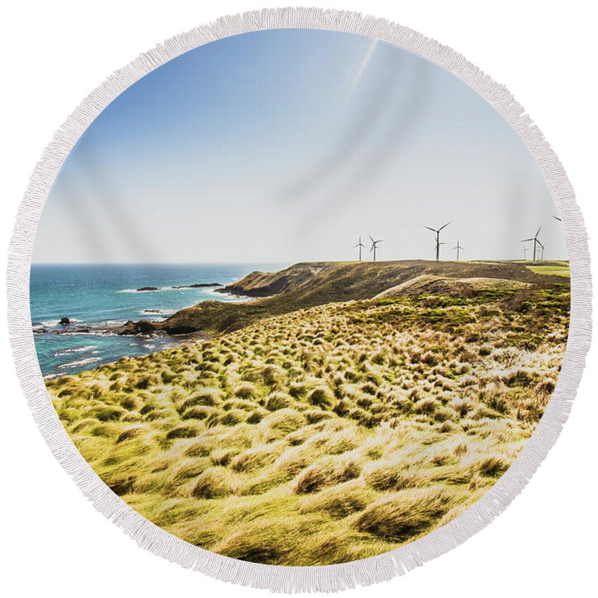 Ocean Round Beach Towel featuring the photograph Windy Meadows by Jorgo Photography - Wall Art Gallery